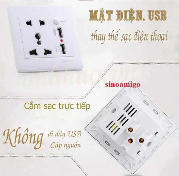 Ổ cắm điện 10A +  ổ cắm sạc USB 1A và USB 2.1A